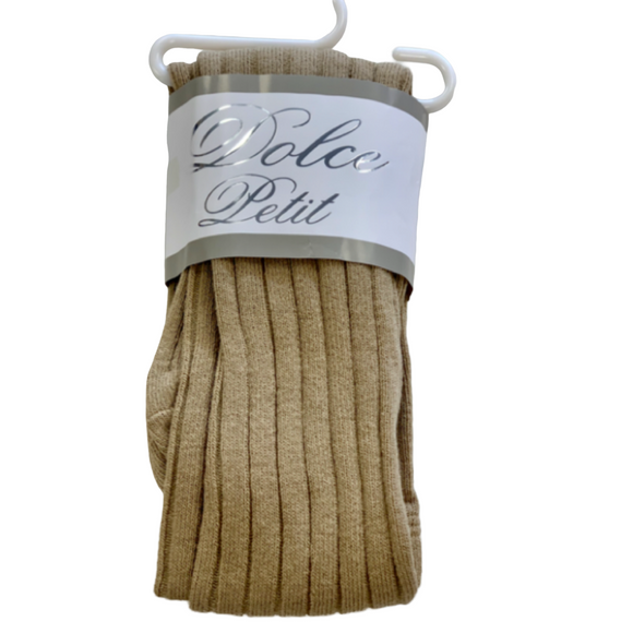 Dolce Petit Ribbed Cotton Tights - Camel