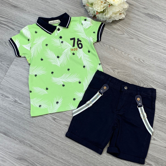 Boys Palm Design Summer Short Set