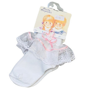Pretty Originals White/Pink Frilly Ankle Socks
