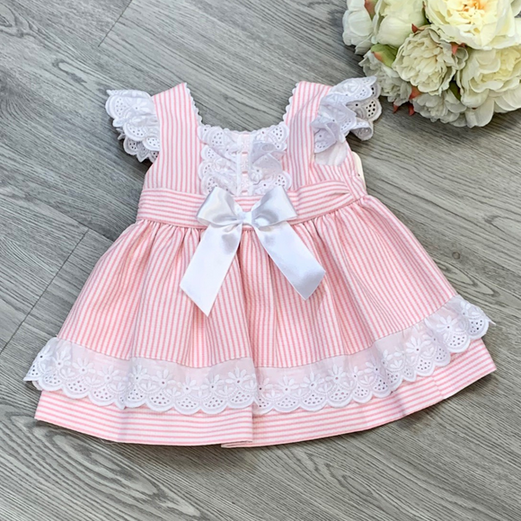 Girls Pink Candy Stripe Dress With Back Bow