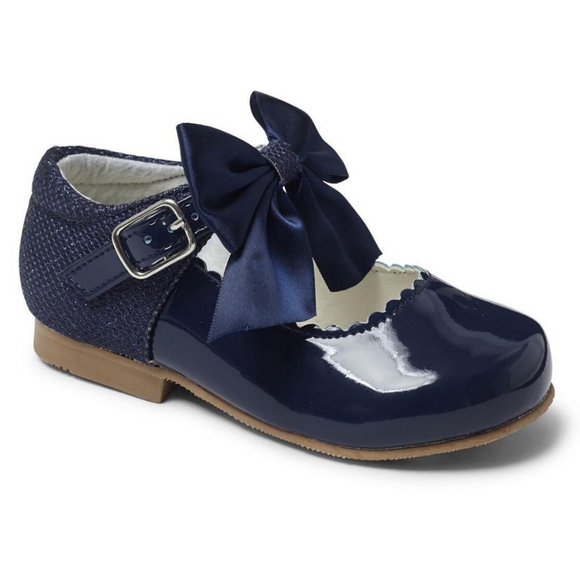 Mary Jane's With Satin Bow - Navy