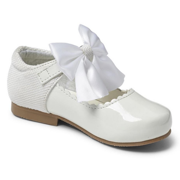 Mary Jane's With Satin Bow - White