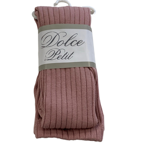 Dolce Petit Ribbed Cotton Tights - Dusky Pink