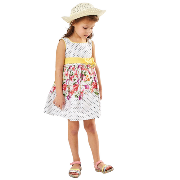 Girls Summer Dress with Yellow Ribbon & Sun Hat