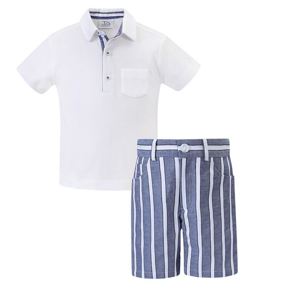 Dani by Sarah Louise Boys White/Navy Short Set