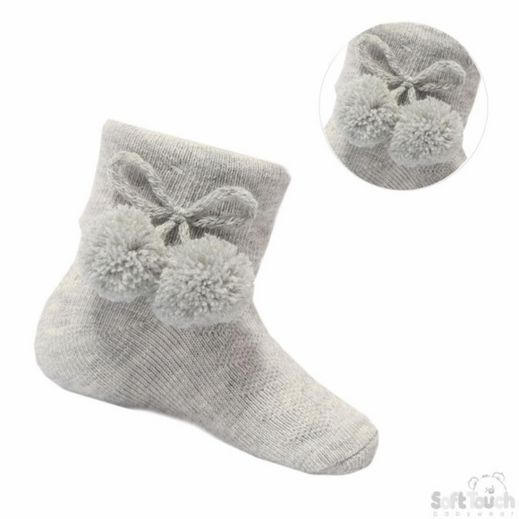 Grey Pom Pom Ankle Socks