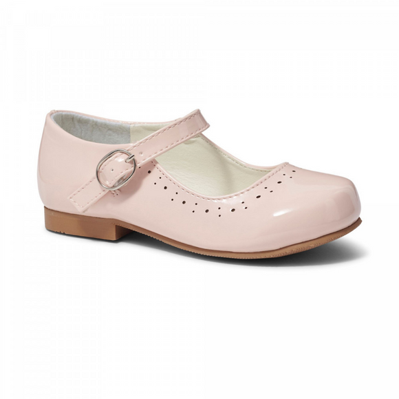 Abbey' Baby Pink Hard Sole Girls Shoes