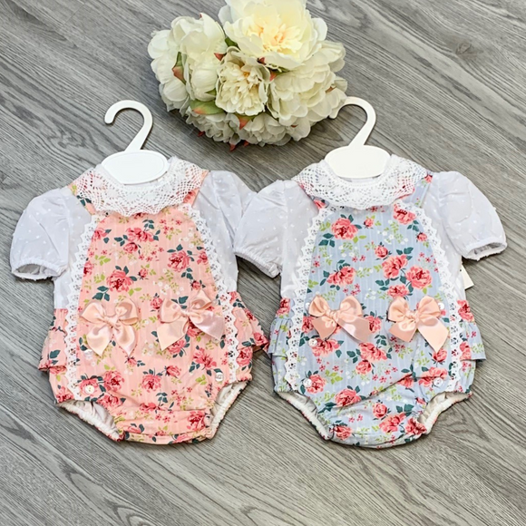 Girls Pink or Blue Floral Bow Dungaree Set