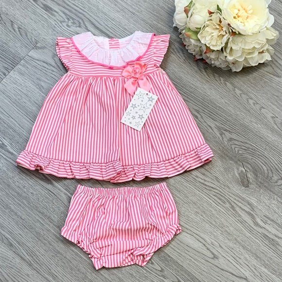 Girls Candy Stripe Pink Dress & Pant Set