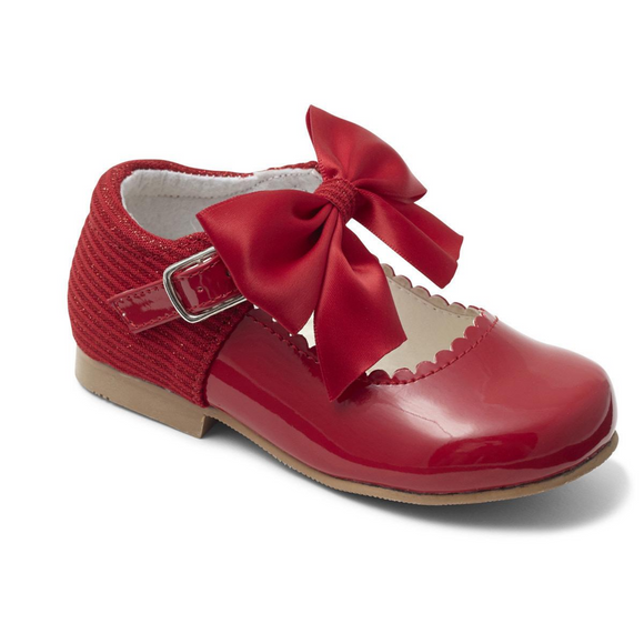 Mary Jane's With Satin Bow - Red