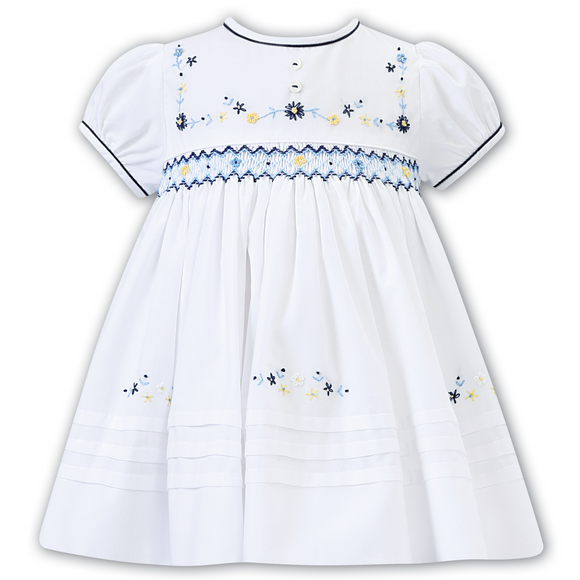 Sarah Louise Girls Lemon/Navy Delicate Floral Dress