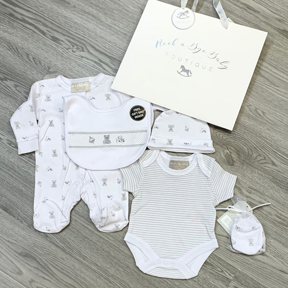 Unisex White 'Nursery' Five Piece Layette Set With Gift Bag