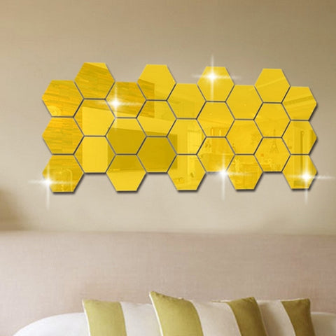 Mirror Hexagon Vinyl Removable