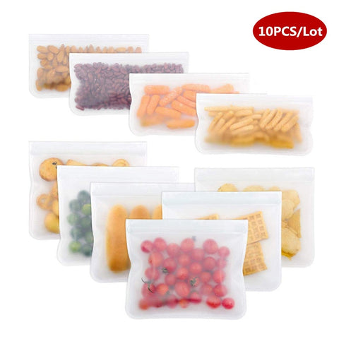 10Pcs/Set Silicone Storage Bag Food