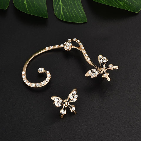 1 Pair Rhinestone Butterfly Clip