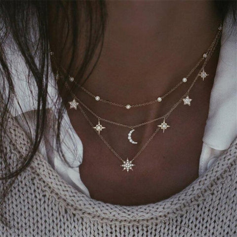 Multilayer Shiny Crystal Stars Moon Bead Necklace