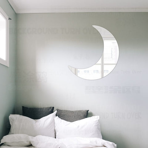 Cute Reflective Moon Decorative Mirror Wall Stickers.