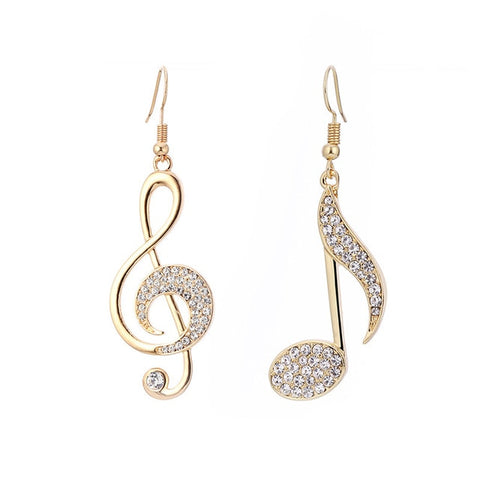 Gold or Silver Music Notes Drop Earrings