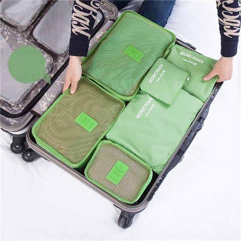 6PCs/Set Travel Bags with Luggage Zipper