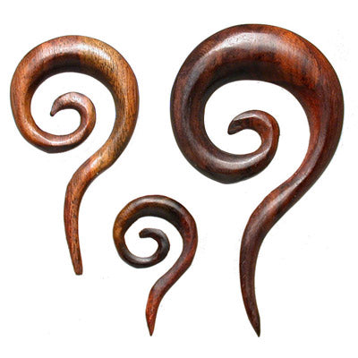 ear spiral earrings wood