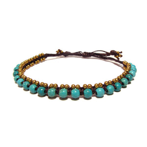 Tribal Bracelet with Turquoise Stone Beads