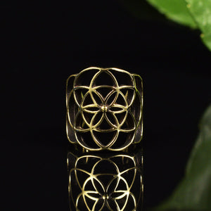 Brass Ear Cuff Flower of Life