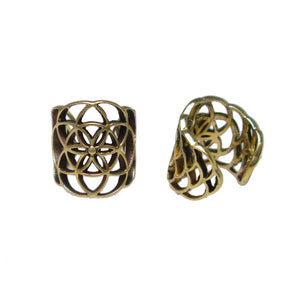 Brass Ear Cuff Flower of Life Design
