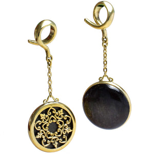 A Pair of Gold Obsidian Ear Hangers