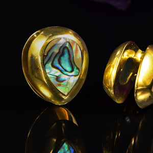 Spade Ear Weights with Abalone