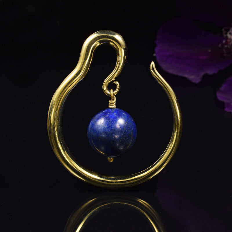 Brass Hoop Weights with a Lapis Lazuli Sphere