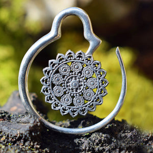 Mandala Ear Hanger in Silver (White) Brass