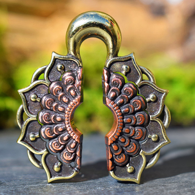 Lotus Mandala Ear Weights in Brass and Copper
