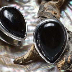 Spade Ear Weights with Large Gold Obsidian Stone