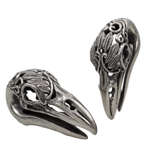 Bird Skull Ear Weight Carved Crow