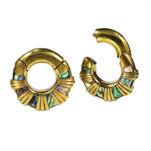 Hinged Ear Weights with Abalone