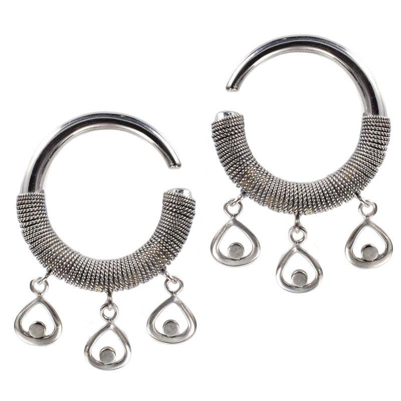 Tribal Ear Hangers, Coiled Hoop Ear Weights