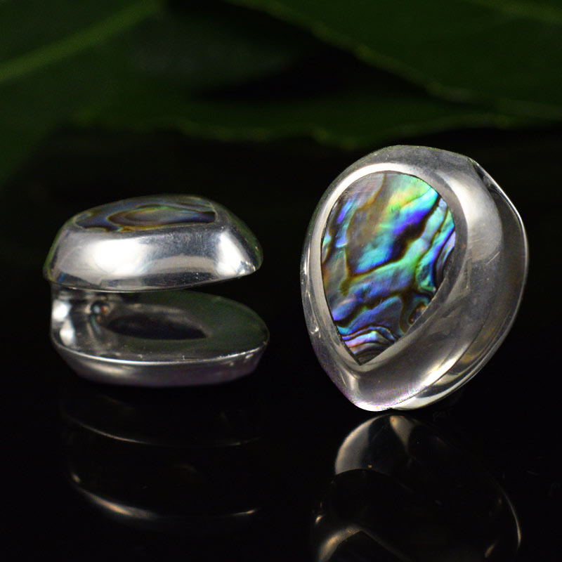 Spade Ear Weights, Silver Plated with Abalone