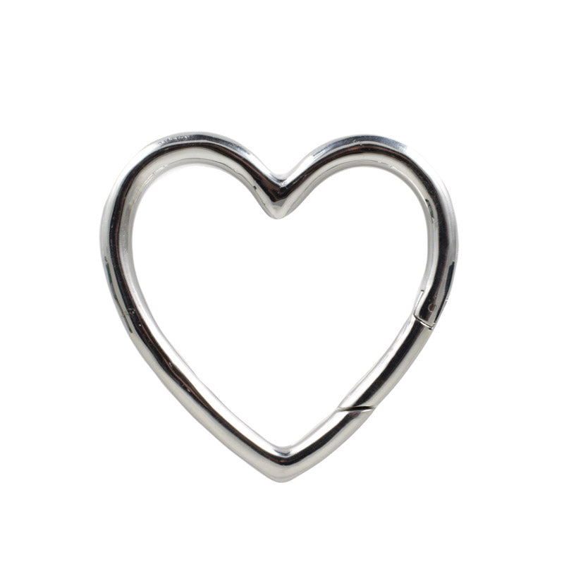 Ear Hangers, Silver Heart Hoops for Gauged Ears