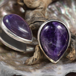 Spade Ear Weights with Amethyst Crystal