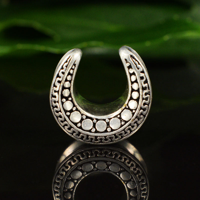 Saddle Plugs Silver Plated with Tribal Design