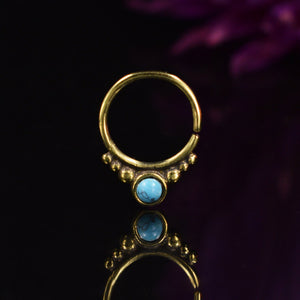 Brass Septum Ring with Turquoise Stone