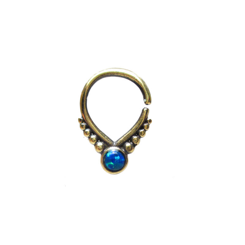 Small Brass Septum Ring with Blue Opal
