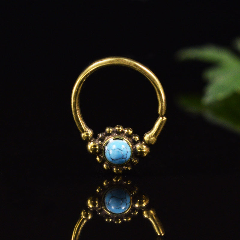 Small Brass Septum Ring with Turquoise Stone