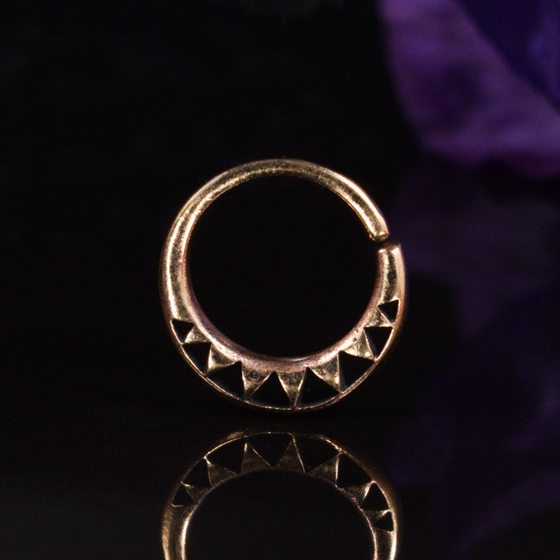 Rose Bronze Septum Ring with Triangular Design
