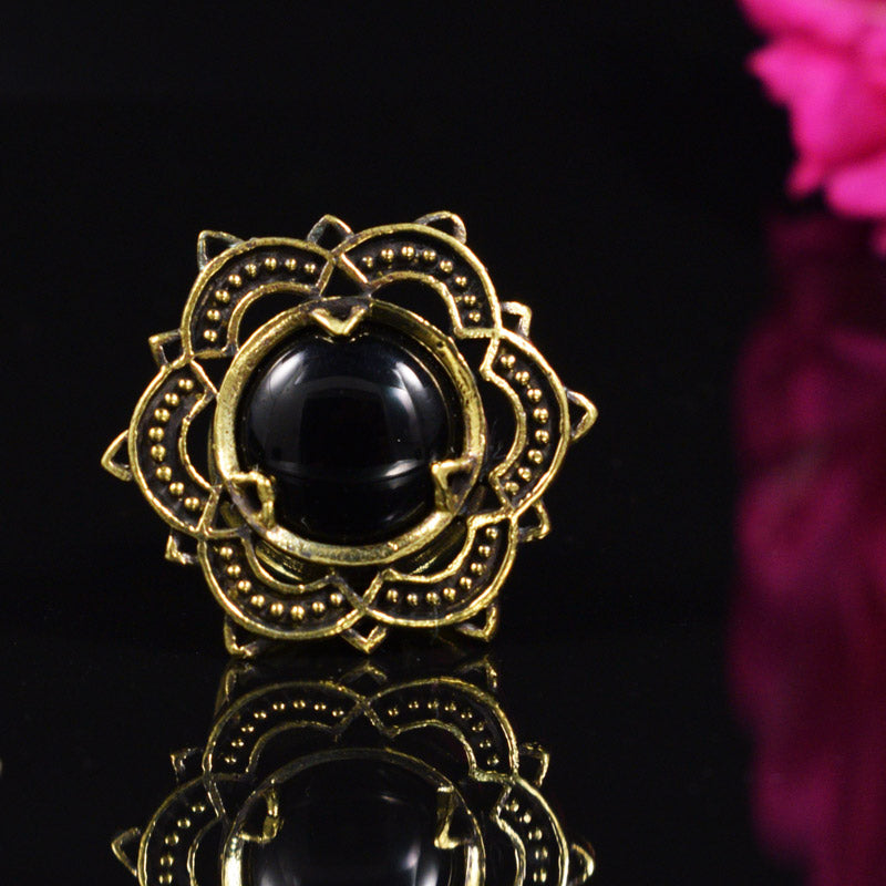 Brass Ear / Flesh Plug with Onyx Stone