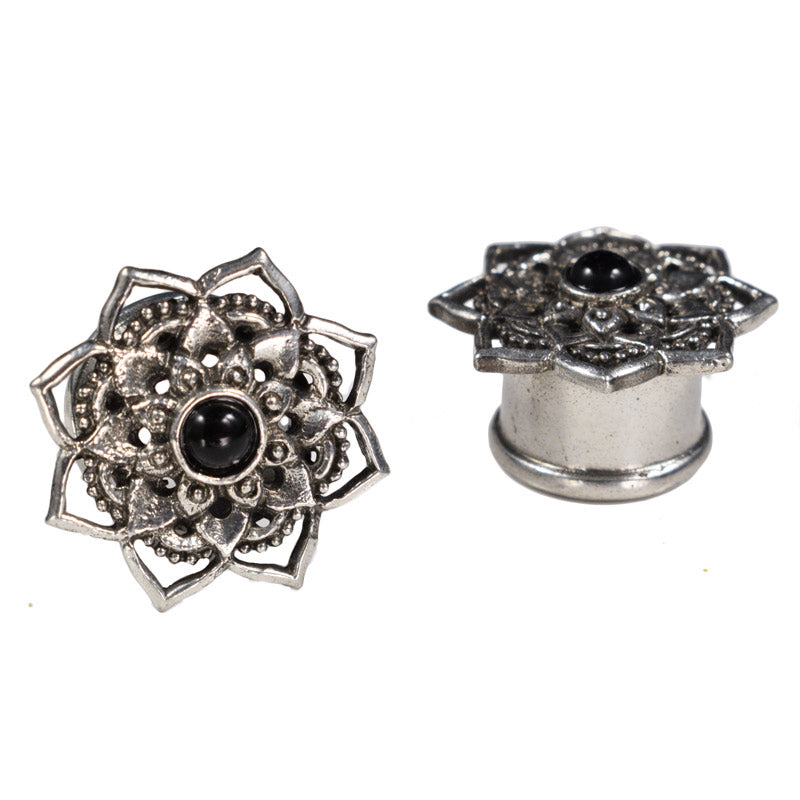Silver Brass Lotus Mandala Plugs with Onyx Stone