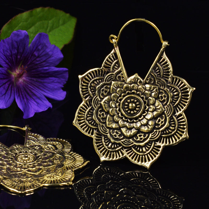 Tribal Mandala Brass Earrings