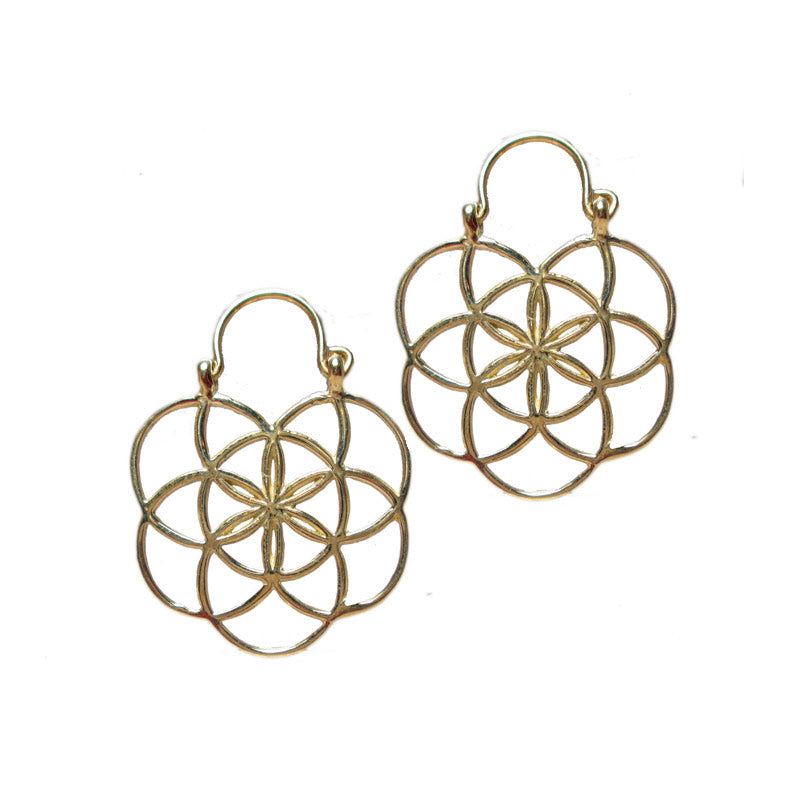 Flower of Life Earrings in Brass