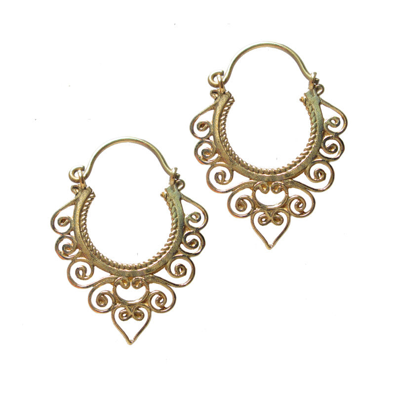 Tribal Indian Style Brass Earrings