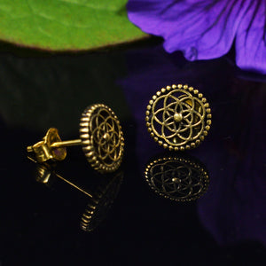 Flower of Life Brass Studs